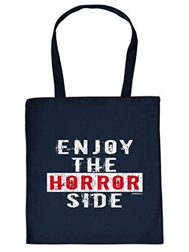 HORROR SIDE Halloween Tote Bag Henkeltasche Beutel mit Aufdruck Tragetasche Must-have Stofftasche Geschenkidee
