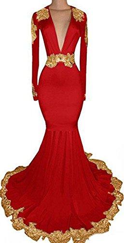 Bessdress Manches Longues Robes De Soirée En Dentelle Or Partie De Bal Longue Sirène Robes Formelles Bd485 Rouge