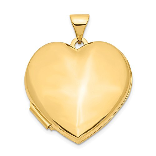 Jewelry Pendants & Charms Lockets 14k 21mm Heart Domed Plain Locket