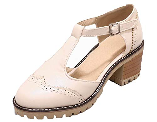 Closed Toe Heels Pu VogueZone009 Buckle CCALP015431 Beige Sandals Women Solid Kitten HwYpPRq