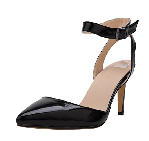 High Toe PU Women's Patent Black Party Wedding Dress Ankle Strap Heel Sexy Elegant Sandal Pointed YaaqBwTSf