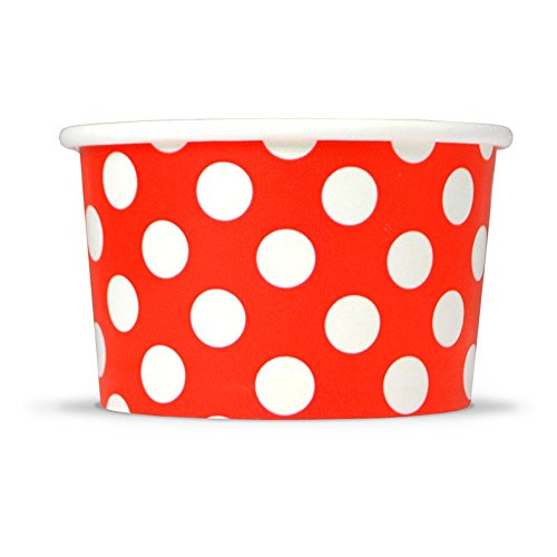 Red Paper Ice Cream Cups - 6 oz Polka Dotty Dessert Bowls - Comes In Many Colors & Sizes! Frozen Dessert Supplies - Fast Shipping! 50 -
