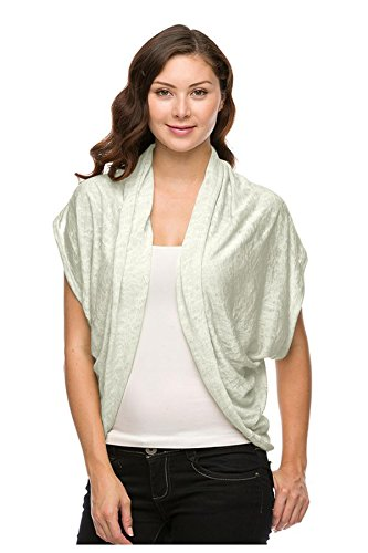 G2 Chic Women's Knit Open Front Cardigan with Short Sleeves(TOP-CGN,OWH-L)