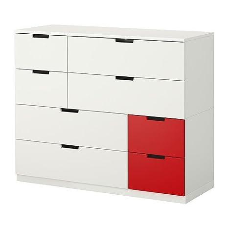 IKEA Nordli - Comò 8 cassetti, Bianco, Rosso, 120 x 97 cm: Amazon.it ...
