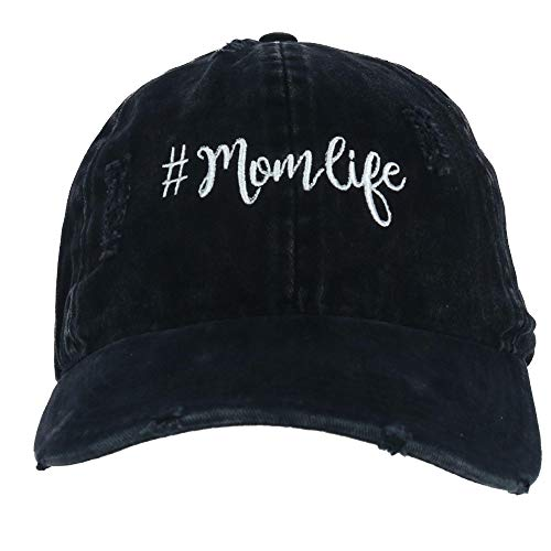 David & Young Women's Distressed Mom Life Embroidered Baseball Cap, Black