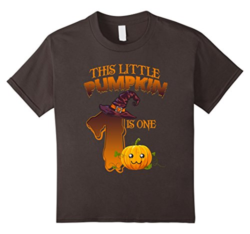 Funny 1 Year Old Halloween Costumes - Kids 1 year old 1st Birthday Tshirt - Halloween Little Pumpkin 8 Asphalt