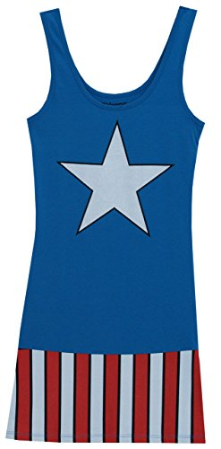 [I Am Captain America Marvel Comics Mighty Fine Juniors Costume Tunic Tank Dress] (Captain America Avengers Costume Material)