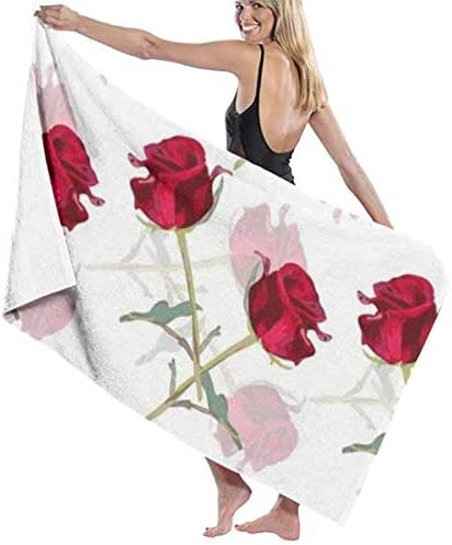 100% Polyester Romantic Rose Beach Towel Soft and Absorbent Beach Bath Pool Towel Large Beach Towels One Size About 31.5 X 51.2 Inches