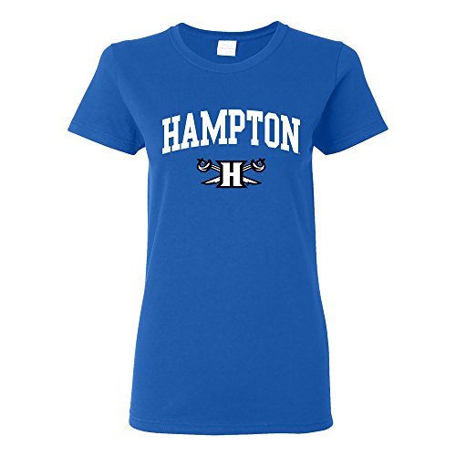 (LS03 - Hampton Pirates Arch Logo Womens T-Shirt - Medium - Royal)