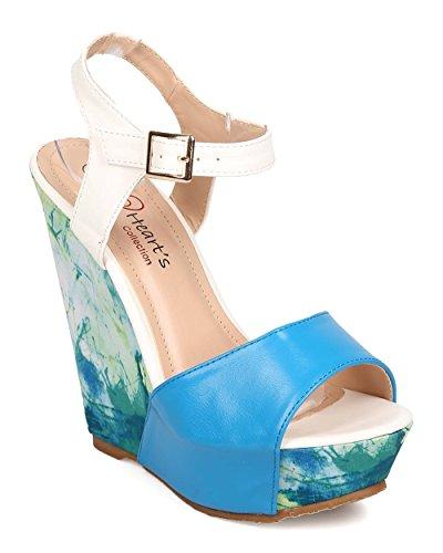 Heart's Collection Women Leatherette Peep Toe Ankle Strap Paint Splatter Platform Wedge EI83 - Royal Blue (Size: 7.0)