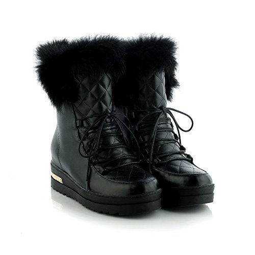 1TO9 Womens Boots Platform Lace-Up Adjustable-Strap Kitten-Heel Warm Lining Fringed Low-Top Cold-Weather Platform Urethane Boots MNS02075 Black LQyZ3i5fU