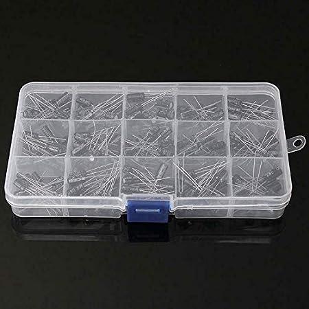 SODIAL Electrolytic Condensateur 15 Valeurs 200Pcs Kit de Bo?te DAssortiment Organisation Stockage