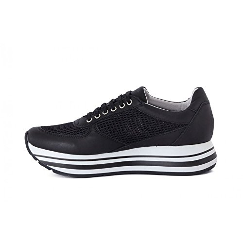 FRAU, SNEAKERS DONNA CON ZEPPINA PLATFORM H. 4, IN PELLE E TELA, MADE IN ITALY (45Q4).