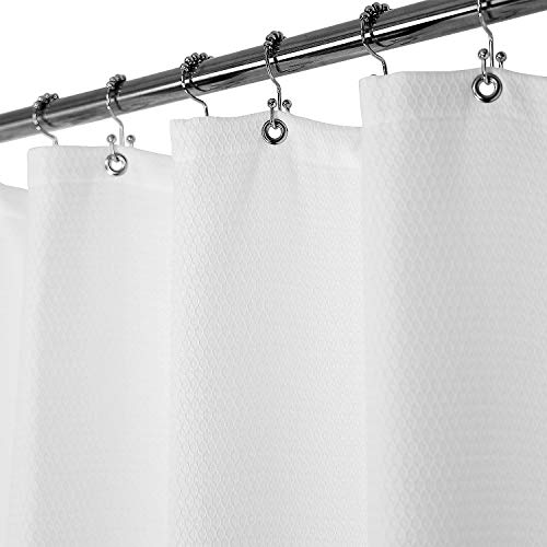 Blend Barossa - Barossa Design Matelasse Shower Curtain Cotton Blend with Lattice Diamond Stitched Pattern, Heavyweight, Hotel Grade, Washable, White, 72x72 inches