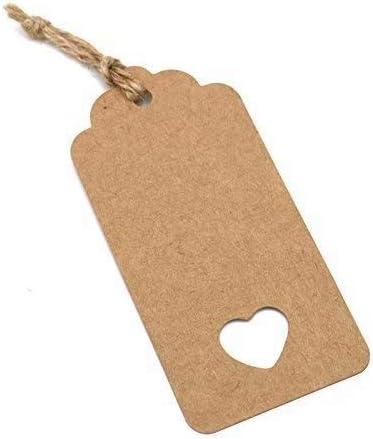 100pcs Etiquetas de regalo de papel de Kraft marr/ón en blanco para boda cumplea/ños regalo tarjeta /álbumes DIY etiqueta