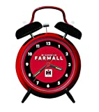 International Harvester McCormick Farmall Twin Bell Alarm Clock with Red and Black Caps