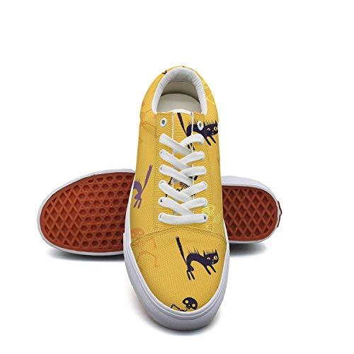 Halloween skeleton cat yellow Women's Slip on shoes Low Top Sneaker -
