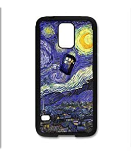 Samsung Galaxy S5 SV Black Rubber Silicone Case - Dr Who Tardis Starry Night Painting Phone Booth Call Box BlueKimberly Kurzendoerfer