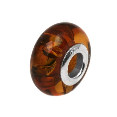 Honey Amber Sterling Silver Round Bead (Amber Charms)