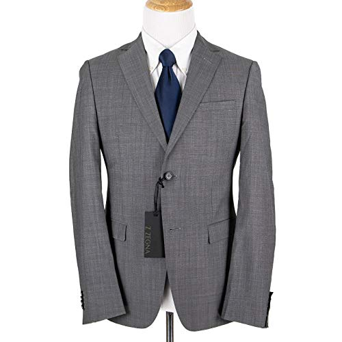 (Z Zegna Pewter Grey Wool Pin Check Lined Dual Vents Flat Front 2Btn Suit 38R)