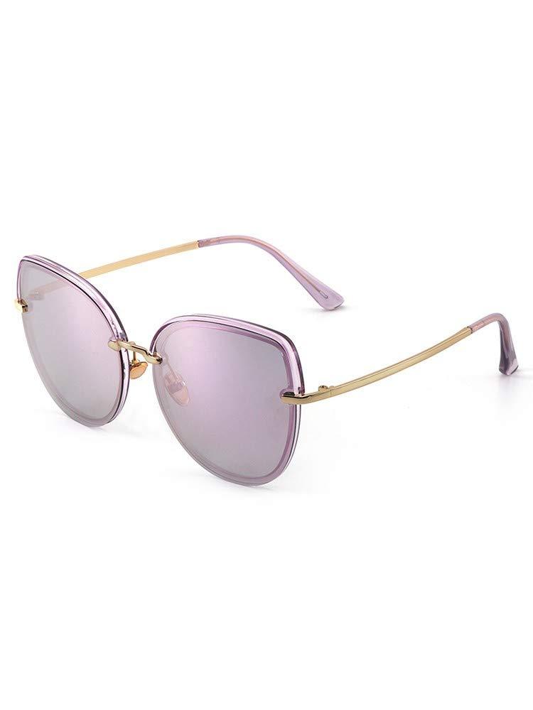 Fuqiuwei Sonnenbrillen Simple And Versatile Retro Female Sunglasses Frameless colorful UltraLight Sunglasses Round Face Sunglasses A