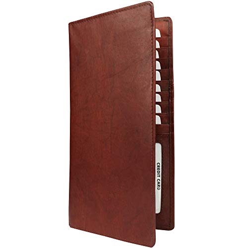 Tall Leather Travel Document Organizer - Card, Boarding Pass and Passport Holder | Mathani Cowhide (Red Brown)