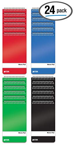 Spiral Memo Pads, 24 Pack, 3 x 5 inches, 60 Sheets, College Rule, by Better Office Products, Assorted Solid Colors, 24 Pack