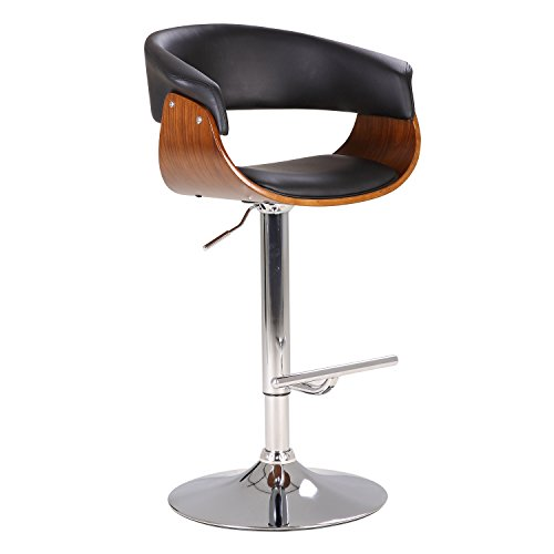 (AC Pacific Black Modern Swivel-Adjustable Wood Barstool with Armrests)