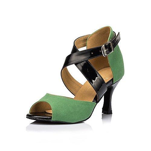 T.T-Q Zapatos de Baile para Mujer Tacones de Gamuza Tacón de Aguja Práctica Sandalias Latinas Verdes Salsa Jazz Tango Swing Practice Indoor Performance Verde