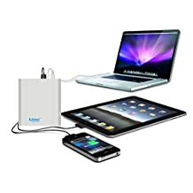 Lizone® Extra Pro 26000mAh Super Capacity Portable External Battery Adapter Charger for Apple MacBook Air, MacBook Pro, MacBook, PowerBook and iBook; HP Compaq Pavilion, Mini, ElifeBook, ProBook,Presario, Envy and G; IBM Lenovo ThinkPad and IdeaPad; USB Port for iPad Air, iPad mini,iPad and iPhone; Samsung Galaxy, Nexus , MOTO, G, LG, HTC and More -Aluminum UniBody, 18 Months Warranty Silver 26000mAh