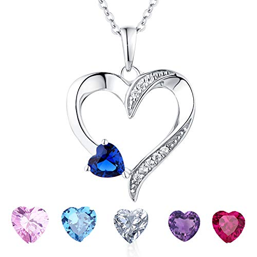 Multi Gemstone Heart Necklace - YL Heart Necklace Sterling Silver Cubic Zirconia Blue Heart Pendant Birthstone Created Sapphire Jewelry Birthday Gift