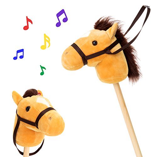 (Best Choice Products 36in Kids Interactive Giddy-Up Stick Horse Stuffed Plush Animal Toy w/ 2 Different Sounds -)