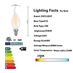 Candelabra LED Bulb,60W Equivalent E12 Base LED Ca