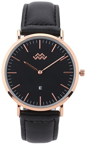 Mio Marino Mens Leather Watch - Fashion Wrist Watches for Men - Classic Mens Dress Watch - Rose (Classic Gold Dress Watch)
