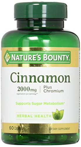 Nature's Bounty Cinnamon 2000mg Plus Chromium, Dietary Supplement Capsules 60 ea For Sale