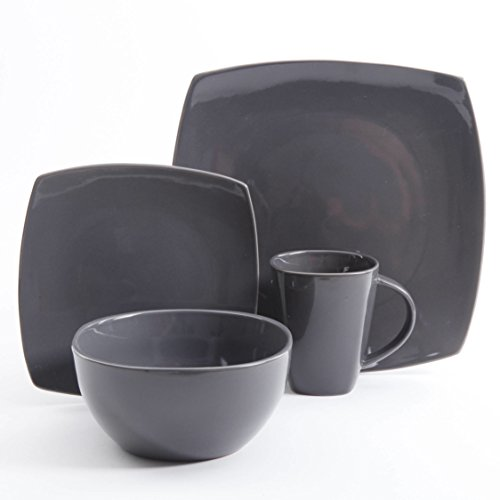 Stoneware Solid Print Grey 16-piece Square Dinnerware Set