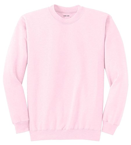 Joe's USA tm Adult Classic Crewneck Sweatshirt, L -Pale Pink