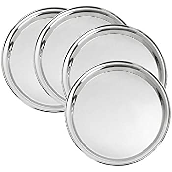 King International 100% Stainless Steel Quarter Plate | Steel Snack Plate | Set of 4 Mess Trays Great for Camping Kids Lunch and Dinner or Every Day Use | - 19.5 cm