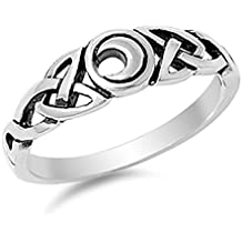 Prime Jewelry Collection Sterling Silver Women's Moon Eye Celtic Knot Ring (Sizes 5-10)