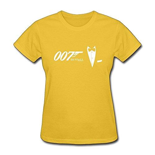 DASY Women's O Neck James Bond Shirts Large Yellow