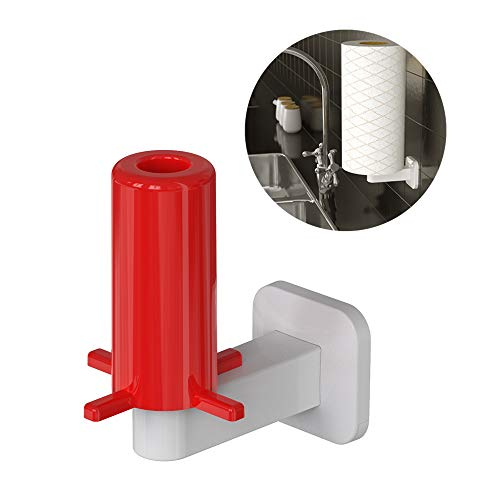 Paper Towel Holder - Adhesive Wall Mount Paper Towel Rack Dispenser for Kitchen Bat,hroom Toilet, Under Cabinet,Garage, Laundry, Pantry, Tissue Roll, Paste, Easy Installation- No Drilling (White) (Cabinet Amanda Wall)