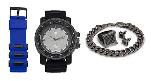 Techno Pave Fashion Jewelry Gift Set: Gun Colored Watch + Extra Watch Band + Gun Colored Bracelet + Iced Out Earrings & Ring [Gift Set] from Techno Pave
