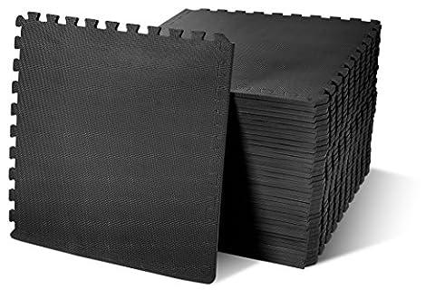BalanceFrom Puzzle Exercise Mat with EVA Foam Interlocking Tiles, Black, 144 sq. ft. - Flooring