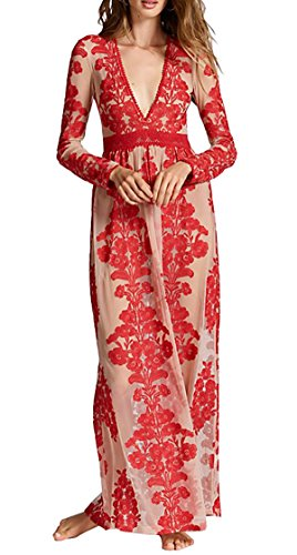 Red Embroidered Mesh (R.Vivimos Women Long Sleeve V Neck Floral Embroidered Elegant A-Line Maxi Dress Small Red)