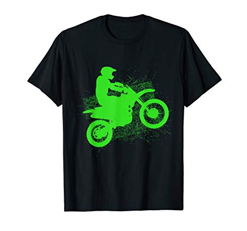 Dirt Bike Rider Tire Tracks Neon Green Youth T Shirt (Best Dirt Bike For Tall Riders)