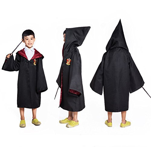 Hallowwen Costumes (HP2 Harry Potter Costume Kids Robe 4 HOUSES S-XXL (XL (145), Gryffindor: Red))