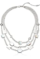 """Kenneth Cole New York """"River"""" Shell Faceted-Bead Illusion Necklace, 18"""""""