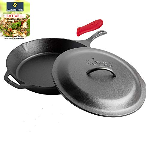 Lodge 13.25 Inch Cast Iron Skillet with Cover, Pre Seasoned Cookware, Ready for Stovetop, Oven Cooking, Large Pan for Family Size Meals, Hot Handle Holder, Bundle Includes Salient Home Recipe Book