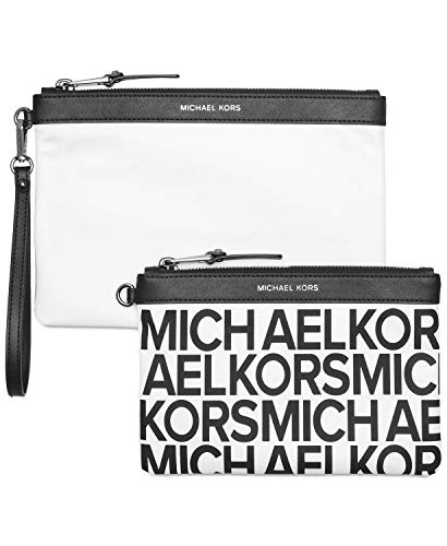 Travel Duo Pouch White/Silver (Michael Kors Cosmetic Bag)