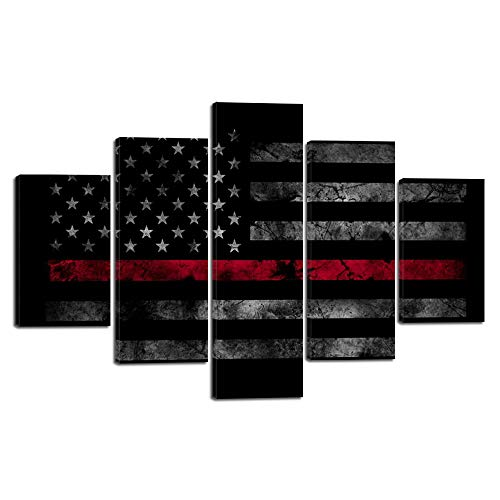- Yatsen Bridge 5 Pieces American Flag Wall Art Pictures for Home Decor Black White and Red US Flag Painting on Canvas Poster Print Artwork Modern Framed Living Room Decorative Easy to Hang (60